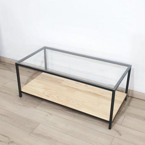 Mesa de centro vidrio y madera