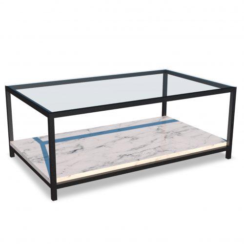 Mesa de centro de vidrio y marmol
