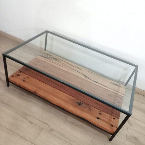 Mesa vidrio y durmientes roble