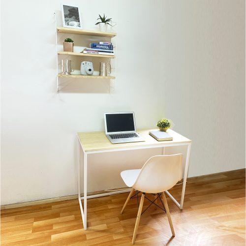 Pack Escritorio + silla + repisa. Blanco